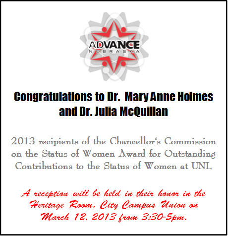 Dr. Mary Anne Holmes and Dr. Julia McQuillan 2013 recepients of the Chancellor's Commission on the Status of Women Award